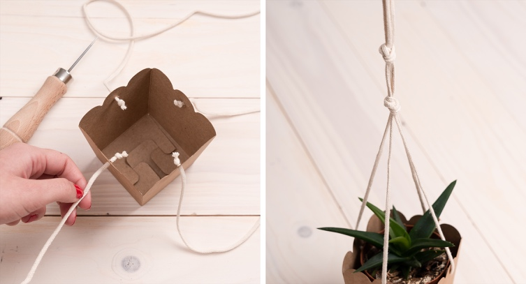 Hanging pots made from recycled cardboard