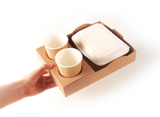 Stackable tray for street food.